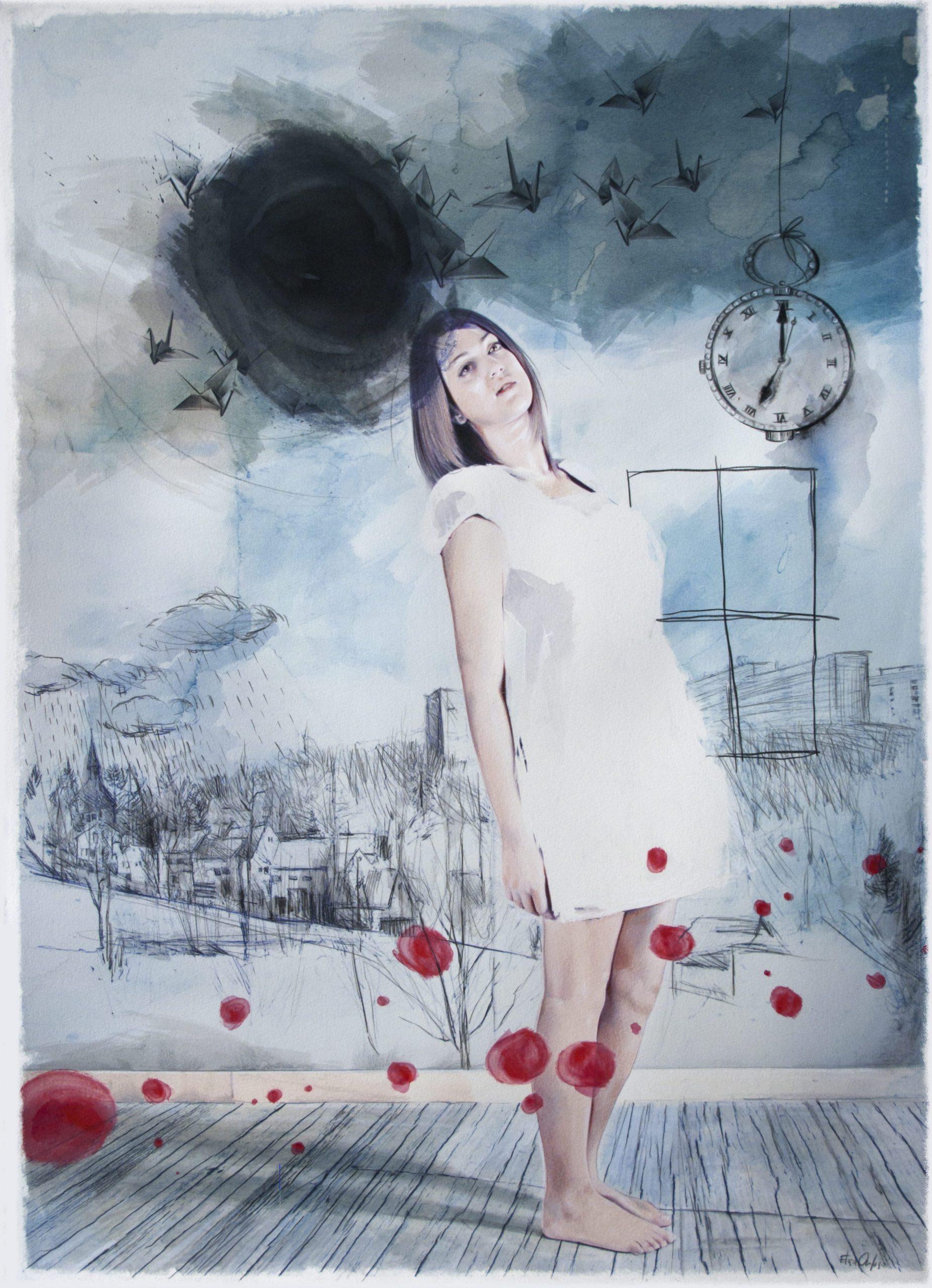 Olio e pastelli su carta, cm 50x70, 2011